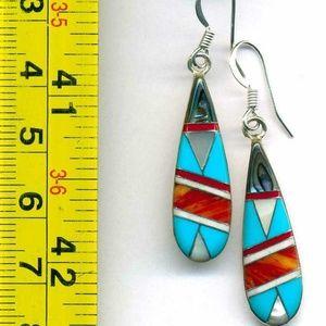 Zuni Sterling Silver Mosaic Inlay Earrings